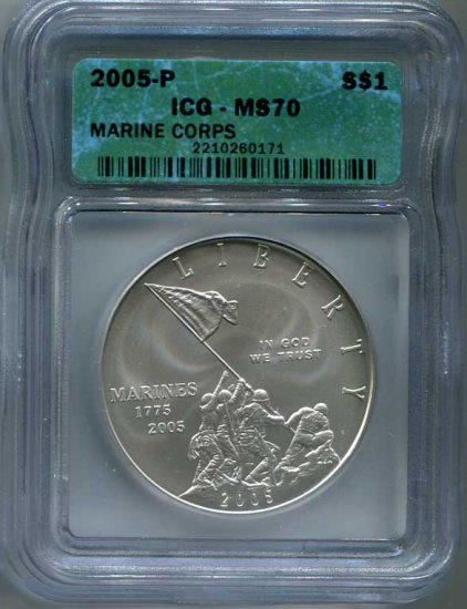 2005-P Marine Corps Commemorative $1 ICG MS70 - Click Image to Close