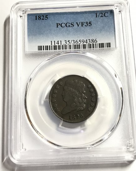 1825 Classic Head Half Cent PCGS VF25 - Click Image to Close